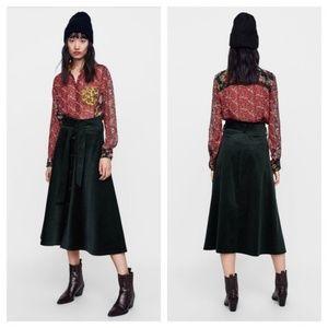 Zara Corduroy Midi Skirt with Belt